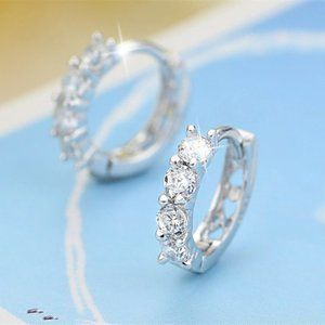 NEW 925 Sterling Silver Diamond Hoop Earrings
